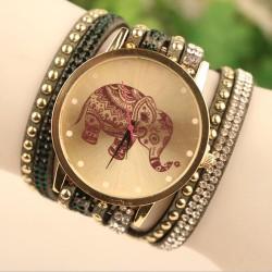 Hohl Elefant-Muster Diamant Niete Ledergürtel Armband Uhr