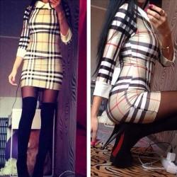 Geometrie Streifen karierte Langhülse dünnes Kleid