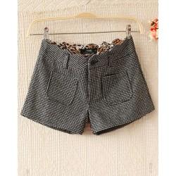 Mode Hahnentritt- Woll Leopard Printed Shorts