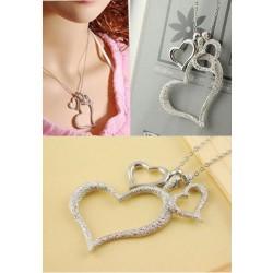 Elegante Mode Frosted Drei Herz Halskette