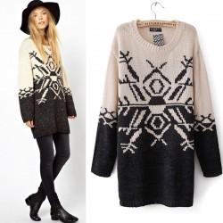 Britischer Stil geometrische Schnee Pullover