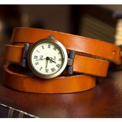 Retro Drei Runden Wound Leather Strap Vintage Uhr