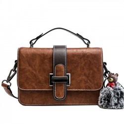 Elegant Lady Messenger Bag Single Buckle Bear Decor Shoulder Bag