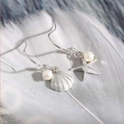 Mode Sterling Silber Seestern Perle Muschel Ohrringe lange Quaste Ohrringe