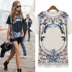 Mode Rosen Gedruckt Rundhals-T-Hemd