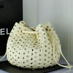 Mode Diamant-Nieten Bucket Ledertasche