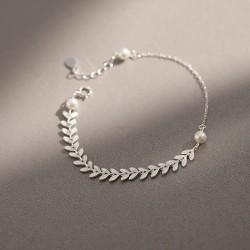 Frische Weizenohren Einfache Literatur Perlenblatt Silber Lady Armband