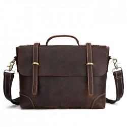 Retro Doppelschnalle Leder Business-Tasche Leder Aktentasche Herrenhandtaschen Umhängetasche