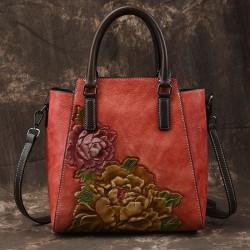 Retro Handgemachte 3D Pfingstrose Handtasche Original Blume Schultertasche aus Leder