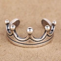 Retro Mode Kronen Silber Öffnungs Ringe