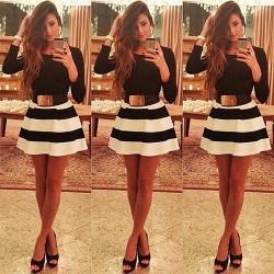 Mode Zebra-Streifen Langarm-Kleider