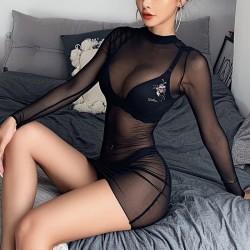 Sexy schwarz dünnes Netz Nachthemd Langarm Perspektive Kleid Intim Dessous