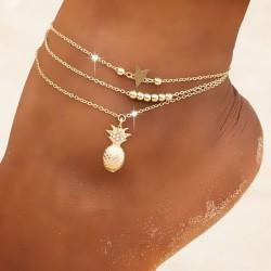 Freizeit Star Korn Kette Strand Gold Ananas 3-lagige Damen Fußkette