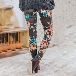 Mode Schwarz Blumen Rosendruck Yoga-Hose Teen Gamaschen
