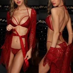 Sexy Babydoll für Frauen Hohl Spitze BH Höschen 2-teiliges Set mit Spitze Robe Nachthemd Bodysuit Riemchen Dessous