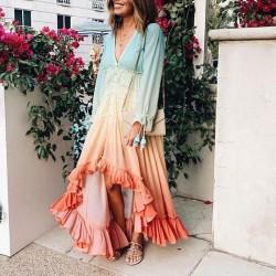 Einzigartiges tiefes V-Langarm-Farbverlaufskleid Langer Rock Unregelmäßiges Regenbogen-Maxikleid Party-Abendkleid-Kleid
