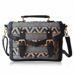Retro Elegante Gewellte Linien Doppel-Haspe Handtasche Schultertasche