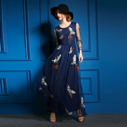 Mode Phoenix stickte langes Kleid