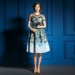 Stilvolle Frühling Splicing-Aquarell-Druck-Kleid
