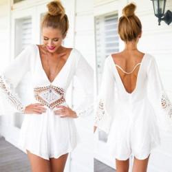 Sexy V-Ausschnitt Halfter Weiß Spitze Jumpsuit