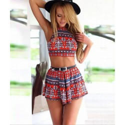 Sexy Sommer Mode Charming Halfter Drucken Two Suits