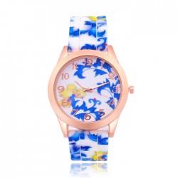 Chinesische blaue und weiße Porzellan Muster Floral-Silikon-Uhr