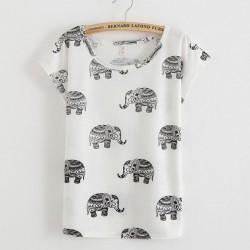 Schöne Elefant Cartoon bedrucktes T-Shirt