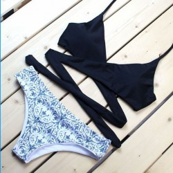Palast Blumendruck Teilt Badeanzug Neu Bandage Bikini-Set