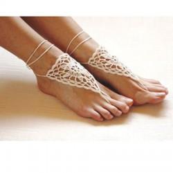 Handgemachtes Barfuß Sandale Gestrickt Blume Fuß Schmuck Strand Fußkettchen Fuss-Ketten