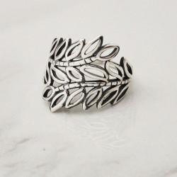 Retro Hohl Blätter Zweig Silber Öffnen Ring Blatt Ring