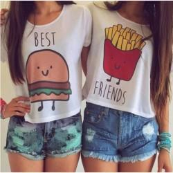 Karikatur-Druck-T-Shirt Frauen-Mädchen-bester Freund-beiläufige Bluse Tops