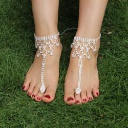 Herz Strass Fußkettchen Barfuß Sandalen Zehenring Fußkettchen