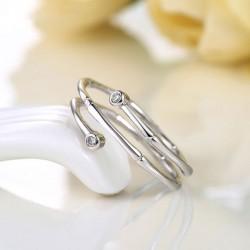 Bambus Inlay Zircon Stilvolle Einstellbare Silber Eröffnung Spiral Ring
