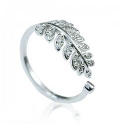 Fashion Blätter Diamant verstellbare Öffnung Silberringe