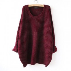 Mode Rundhals Variegated Long Loose Wollpullover