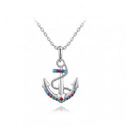 Marine Seele Stilvolle Mehrfarbenkristalle Anker Anhänger Halskette