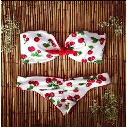 Kirschmuster Badebekleidungs -Badeanzug-Bikini-Satz