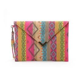 Jahrgang Ethnisch Geometrisch Gedruckt Segeltuch Umschlag Tasche Unterarmtasche