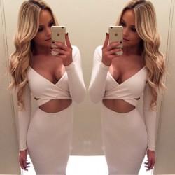 Sexy langärmelige Nachtclub hohlen Kleid unregelmäßigen Brust Kreuz sexy Kleid
