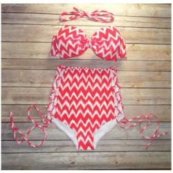 Welle Drucken Bogen Bikini Hohe Taille Bikinis Hochdrücken Badeanzug