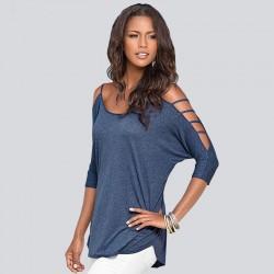 Solides hohles trägerloses Kurzarm-T-Shirt für Frauen