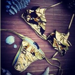 Tyrann Gold Blumen Dreieck Badeanzug Bikini-Set Bademode Strand Badeanzug