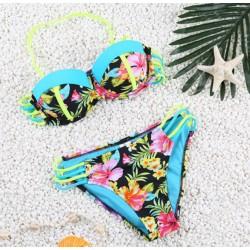 Bandage Palme und floral bedruckte Badeanzug Sexy Bikini Bademode Badeanzug