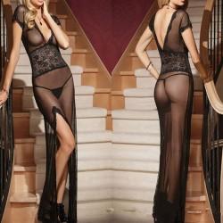 Sexy Frauen Tiefes V Siehe obwohl Lange Stil Mesh Pyjamas Dessous Sild Hoch geschlitzten langen Kleid