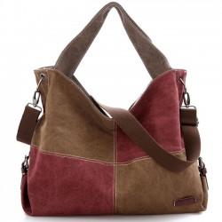 Retro Splicing Square Kontrast Farbe Blockierung große Kapazität Canvas Schultertasche Mädchen Handtasche