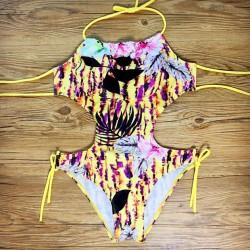 Hohl Verband-Bikini-Satz Halter einteiliger Badeanzug-Badebekleidung