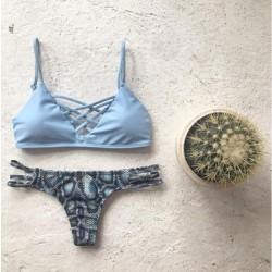 Dreieckigem Quer Verband Bikini Blau Schlange-Druck-Badebekleidung
