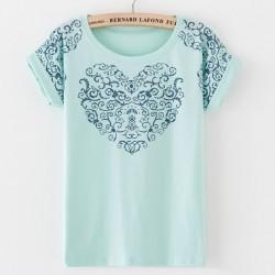 Vintage Palace Blumendruck Baumwoll T-Shirt