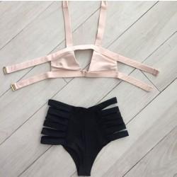Rosa Binde Bikini Set Badebekleidung Strand Badeanzug Badeanzug für Frauen