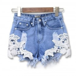 Sommer aushöhlen Crochet Lace Denim Shorts Löcher Jeans Frauen Shorts